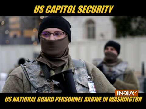 US National Guard personnel arrive in Washington
