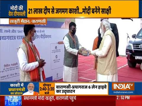 PM Modi reaches Varanasi, to inaugurate newly widened NH-19 shortly