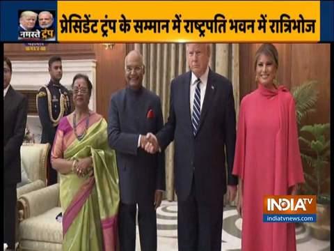 राष्ट्रपति भवन में डिनर के लिए पत्नी मेलानिया के साथ पहुंचे डोनाल्ड ट्रंप