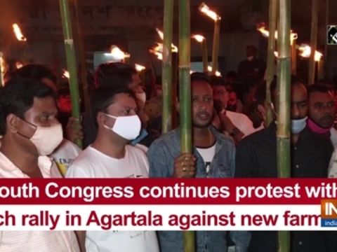 Youth Congress continues protest with torch rally in Agartala against new farm bills