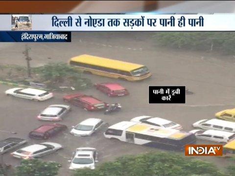 Delhi-NCR witnesses massive traffic jam, waterlogging after heavy rains
