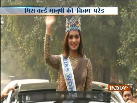 Miss World 2017 Manushi Chillar holds a road show in Delhi