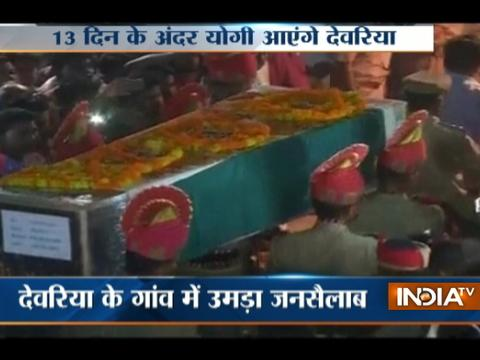 Mortal remains of BSF head constable Prem Sagar brought to his village in Deoria