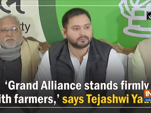 'Grand Alliance stands firmly with farmers,' says Tejashwi Yadav
