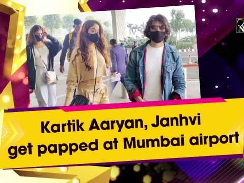 Kartik Aaryan, Janhvi get papped at Mumbai airport
