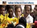 Congress President Rahul Gandhi pays tribute to M Karunanidhi at Rajaji Hall in Chennai