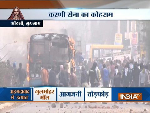 Padmaavat row: Protesters torched bus and pelted stones in Gurugram