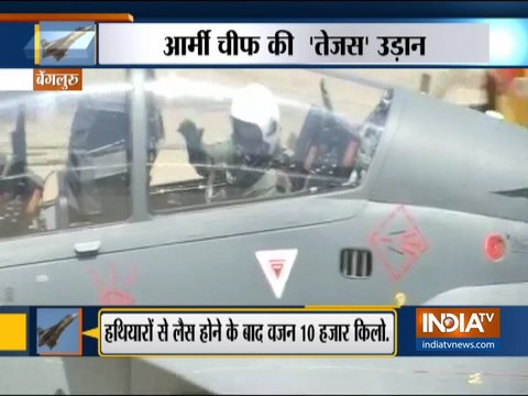 Army Chief Bipin Rawat flies in the indigenous Light Combat Aircraft - Tejas in Bengaluru