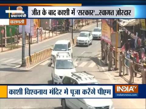 Varanasi: Massive crowd greets PM Narendra Modi