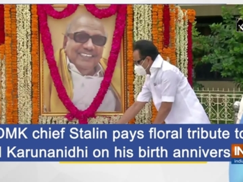 DMK chief Stalin pays floral tribute to M Karunanidhi on his birth anniversary