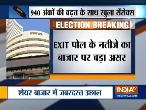 Exit Poll के अनुमानों से झूमा शेयर बाजार, निफ्टी 260 अंक और सेंसेक्स 950 अंक उछला