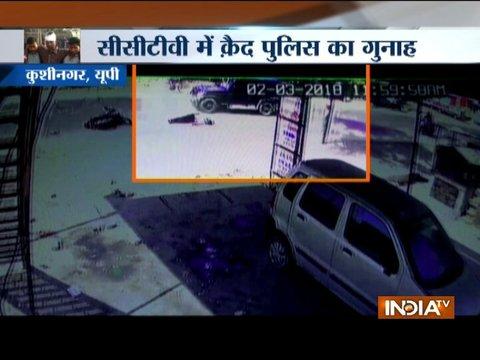 CCTV: Police jeep hits biker in UP's Kushinagar