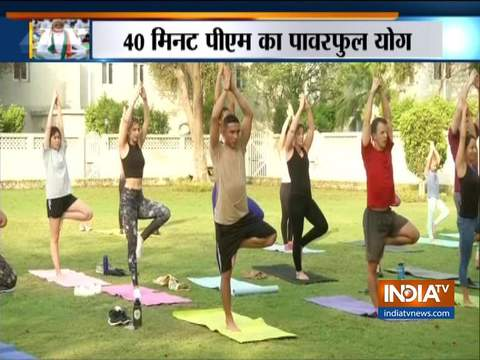 International Yoga Day 2019: Yoga being performed at the Embassy of the United States of America in Delhi