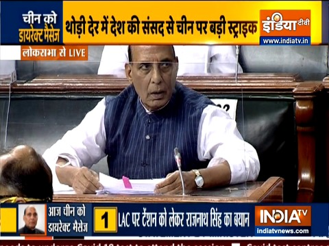 Watch: Defence Minister Rajnath Singh makes a statement on India-China border issue, in Lok Sabha