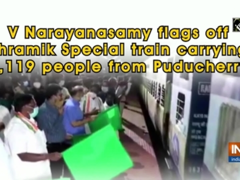V Narayanasamy flags off Shramik Special train carrying 1,119 people from Puducherry