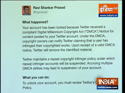 Ravi Shankar Prasad claimed that Twitter blocked his account for an hour