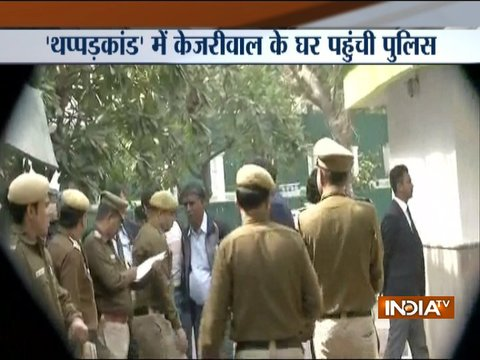 Delhi Chief Secy assault case:,Police arrives at CM Kejriwal's residence to review CCTV footage