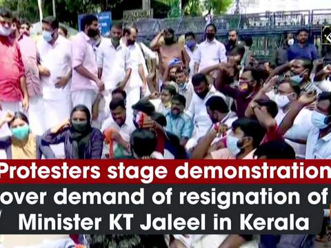 Protesters stage demonstration over demand of resignation of Minister KT Jaleel in Kerala