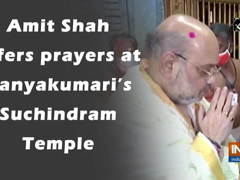 Amit Shah offers prayers at Kanyakumari's Suchindram Temple