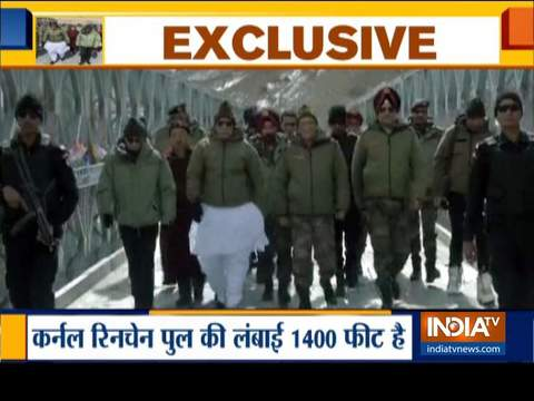 रक्षा मंत्री राजनाथ सिंह ने लद्दाख में कर्नल चेवांग रिनचेन पुल का किया उद्घाटन