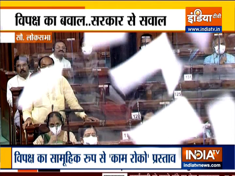 Uproar continues in Parliament, Opposition MPs  hurl papers at Chair in Lok Sabha
