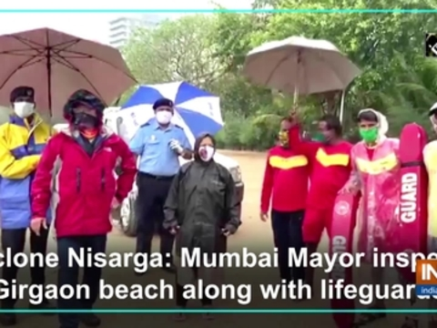 Cyclone Nisarga: Mumbai Mayor inspects Girgaon beach along with lifeguards