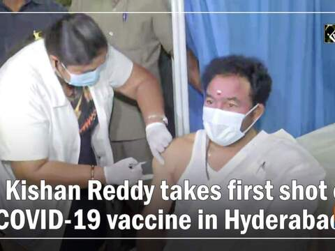 G Kishan Reddy takes first shot of COVID-19 vaccine in Hyderabad
