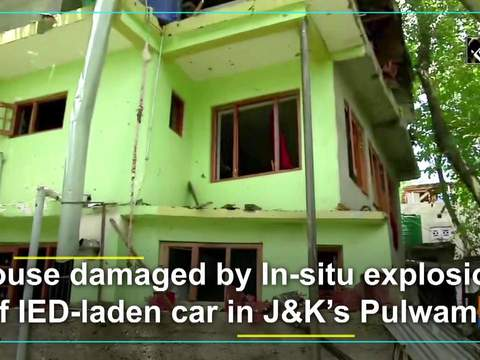 House damaged by In-situ explosion of IED-laden car in J&K's