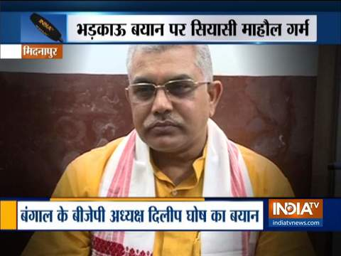 West Bengal: BJP Chief Dilip Ghosh asks workers to thrash TMC workers and cops, FIR registered