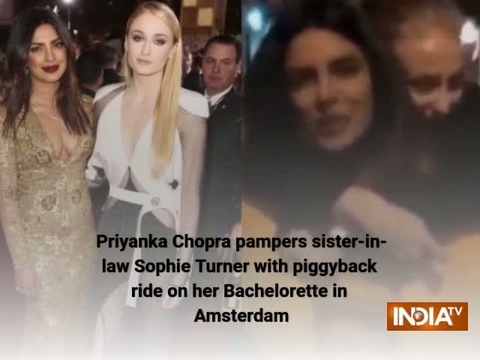Priyanka pampers sister-in-law Sophie Turner with piggyback ride on her Bachelorette in Amsterdam