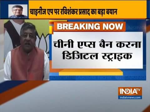 Banning Chinese Apps is a 'Digital Strike', says Union Minister Ravi Shankar Prasad