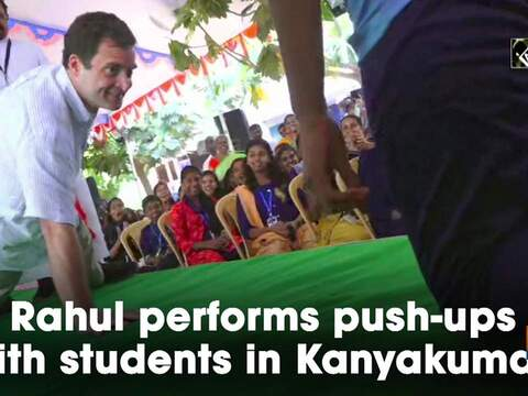 Rahul performs push-ups with students in Kanyakumari