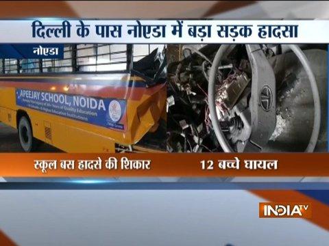 Noida: 12 students injured as school bus rams into divider near Rajnigandha Chowk