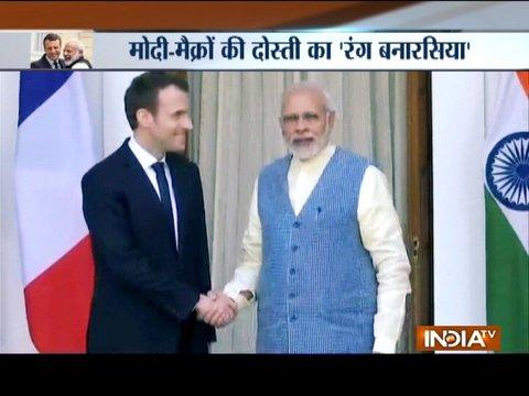 Varanasi: PM Modi & French President Macron at Deen Dayal Upadhyay Hastkala Sankul