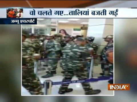 CRPF personnel get thunderous applause at Jammu airport