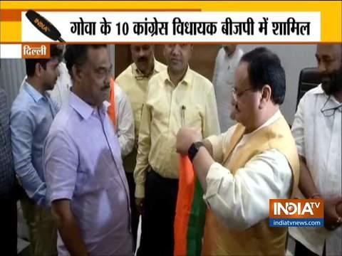 गोआ कांग्रेस के 10 विधायक भाजपा में शामिल
