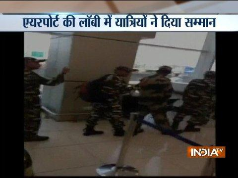 Watch: CRPF jawans welcomed with a thunderous applause at Jammu airport