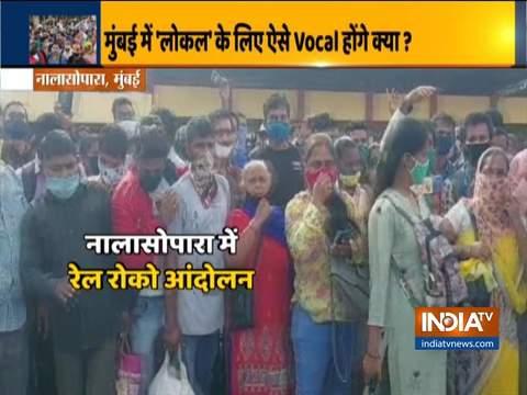 Commuters block Mumbai local line at Nalasopara