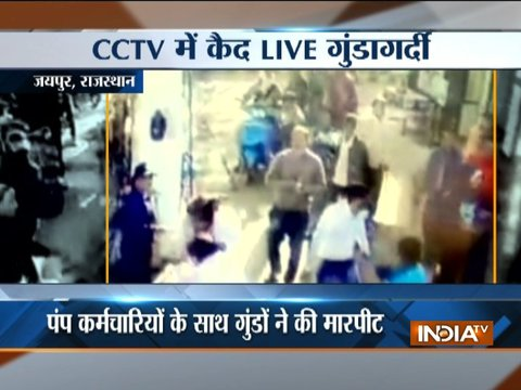 CCTV: Miscreants beat up Petrol Pump employees in Jaipur