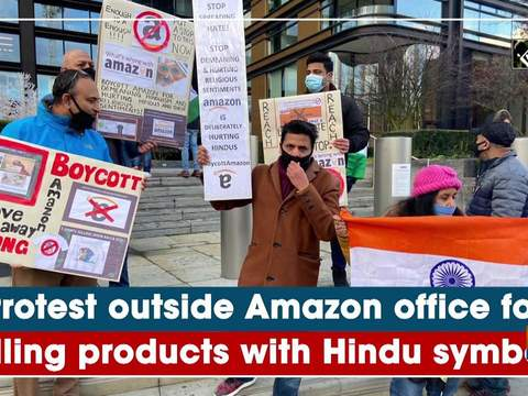 Protest outside Amazon office for selling products with Hindu symbols