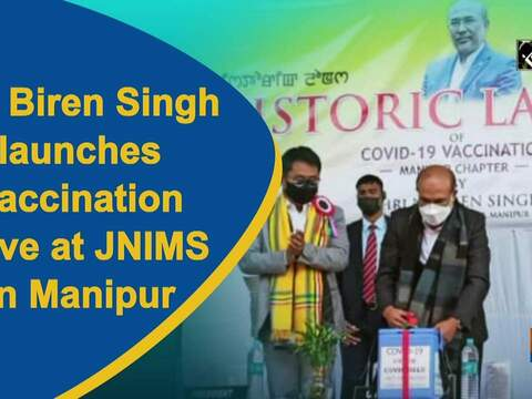 CM Biren Singh launches vaccination drive at JNIMS in Manipur