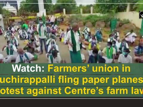 Watch: Farmers' union in Tiruchirappalli fling paper planes to protest against Centre's farm laws
