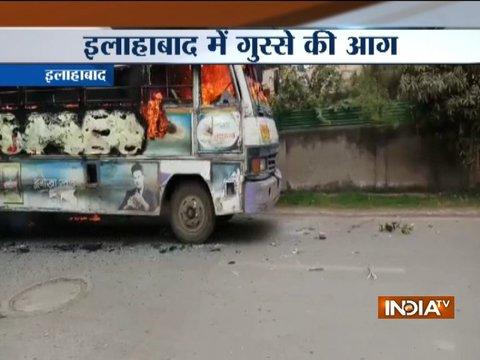 Allahabad: Protests over law student's murder turn violent, bus set ablaze