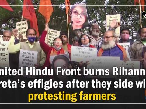 United Hindu Front burns Rihanna, Greta's effigies after they side with protesting farmers