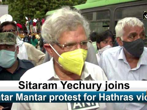 Sitaram Yechury joins Jantar Mantar protest for Hathras victim