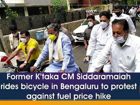 Former K'taka CM Siddaramaiah rides bicycle in Bengaluru to protest against fuel price hike