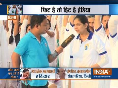 Delhi: Brahma Kumaris perform Yoga at Red Fort on International Day of Yoga