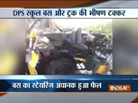 Indore: 5 school children and bus driver killed after a school bus collides with a truck