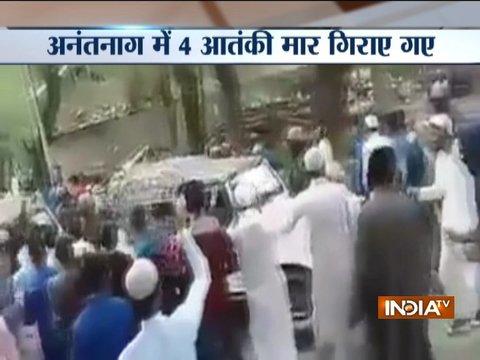 जम्मू-कश्मीर: अनंतनाग एनकाउंटर में 4 आतंकी ढेर, ऑपरेशन के बाद जवानों पर हुई पत्थरबाज़ी