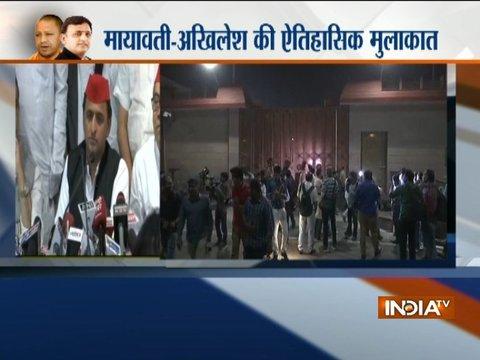 Akhilesh Yadav reaches Mayawati's residence to thank her
